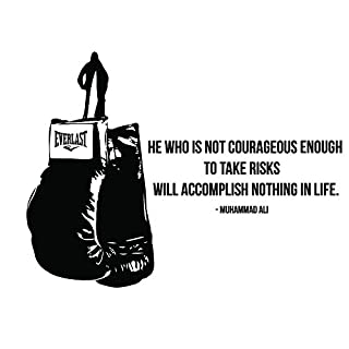 azutura He Who Is Not Courageous Wall Sticker Muhammad Ali Quote Wall Decal Boxing Decor available in 5 Sizes and 25 Colours X-Large Black