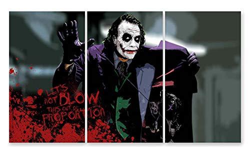JH Lacrocon Videospiel Leinwand Kunstdruck Film Bild Deko 40X70cm 3 teilig Gaming Poster Das Joker Heath Ledger Zitaten Foto Kino 120X70 cm