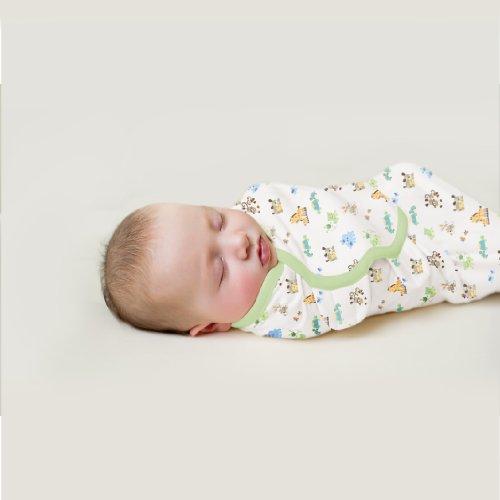 SWADDLEME - 3er PACK - 100% Cotton - Neutrale Farben - Tiere, braun, grün gestreift - Gr. SMALL aus USA
