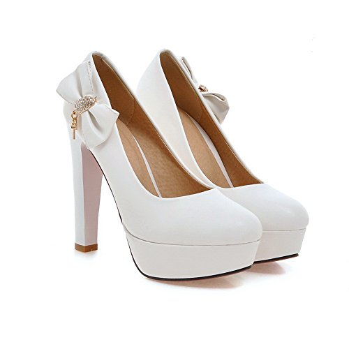 BalaMasa da donna, punta tonda, Olid Pull-On-Face pompe Hi-Shoes White