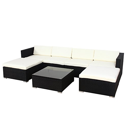 POLY RATTAN Lounge Gartenset Sofa Garnitur Polyrattan Gartenmöbel (XL, Schwarz)