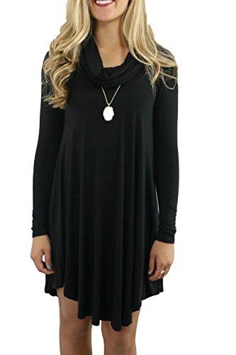 Casual lâche Swing Mini robe des femmes Black