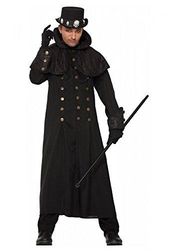 Kostüm Viktorianischen Raven - Langer schwarzer Warlock Herrenmantel mit Stehkragen Gr. M/L Hexenmeister Zauberer Mantel Steampunk
