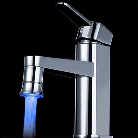 100 pcs/Los 7 Farbe leuchtenden LED Wasserhahn tippen Sie auf Temperatur Sensor LED Wasserhahn Licht Farbe ändern Belüfter, (Brunnen Belüfter)