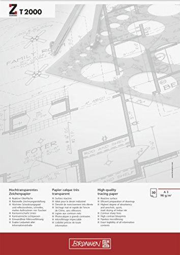 Brunnen 1047369 Zeichen-/Entwurfblock (A3, 90g/m² 50 Blatt transparentes Zeichenpapier ZANDERS T 2000)