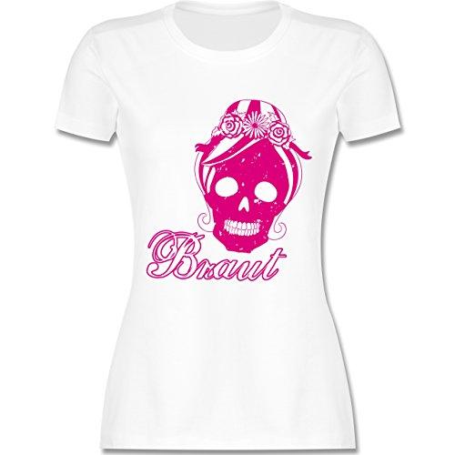 Shirtracer JGA Junggesellinnenabschied - Braut Totenkopf Vintage - Damen T-Shirt Rundhals Weiß