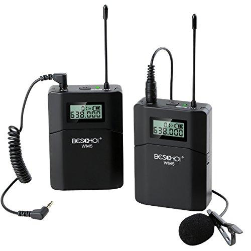 Beschoi 70M Wireless Microfono Telecamera UHF Remota Lavalier Ricevitore MIC a Basso Rumore + Trasmettitore per Fotocamere DSLR Videocamera Registratore Audio