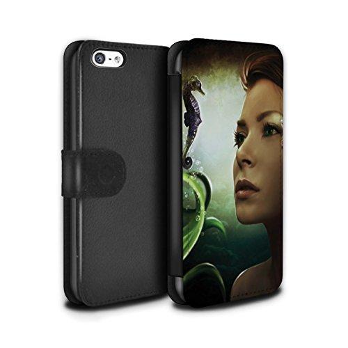 Officiel Elena Dudina Coque/Etui/Housse Cuir PU Case/Cover pour Apple iPhone 5C / Poissons d'Or Design / Agua de Vida Collection Mer Profonde/Hippocampe