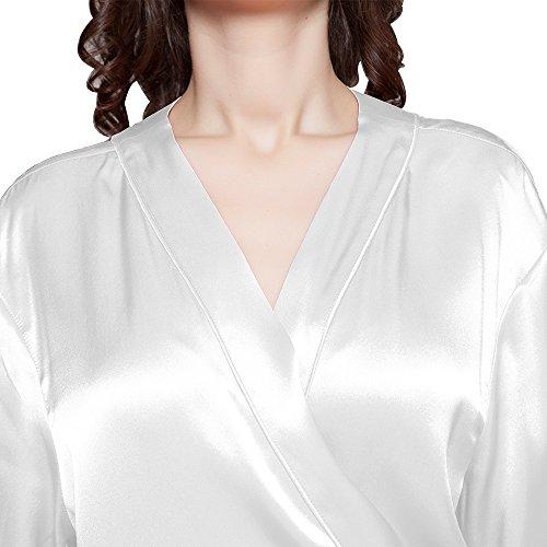 LILYSILK Femme Robe de Chambre en Soie Style Classique Mi-cuisse 22 Momme Blanc