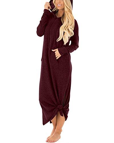 ABYOXI Damen Lange Hoodie Pulli Kleider Langarm Split Maxi Kapuzenpullover Sweatshirts Jumper Kleid