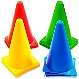 12 Cônes de Signalisation Multicolores, Cônes de Circulation, Cones de Sport, 23cm - Plastique Durable de Haute Qualité - Plot Cone pour Football, Sport d'Agilité ou Le Dressage des Chiens.