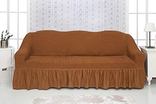 Mixibaby Sofabezug Sofahusse Sesselbezug Sitzbezug Sesselüberwurf Stretchhusse Sofahusse, Farbe:karamell