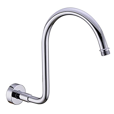 TRUSTMI Brass Gooseneck Wall Mounted Shower Arm with Flange for Shower Head,Polished Chrome