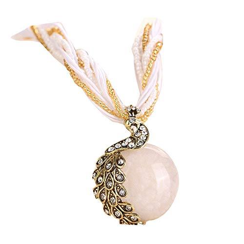 rass Pfau Gem Anhänger Halskette YunYoud bauchkette schlangenkette fingerringe set günstige modische vintage zuchtperlen titanschmuck diamantschmuck ()