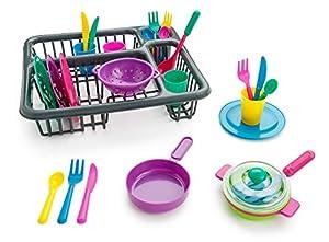 Playkidz- súper Durable Juego de aparentar-Conjunto de Platos para niños-27 Piezas con escurridor-Juguetes de Cocina de plástico para niños, múltiples