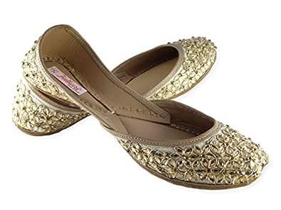 Fulkari Prime Daisy Beige Gold Women's Soft Leather Bite and Pinch Free Jutis  Punjabi Jutti Flat Ladies Mojari  Formal Ethnic Shoe 35