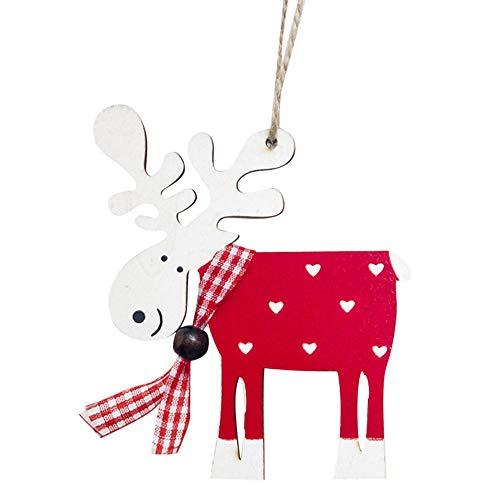 FeiliandaJJ Anhänger Hölzern Weihnachten Gemalt Elch Weihnachten Dekoration Hängende Verzierung für Zimmer Weihnachtsbaum Party Tür Wand Haus Deko Accessoires (rot)