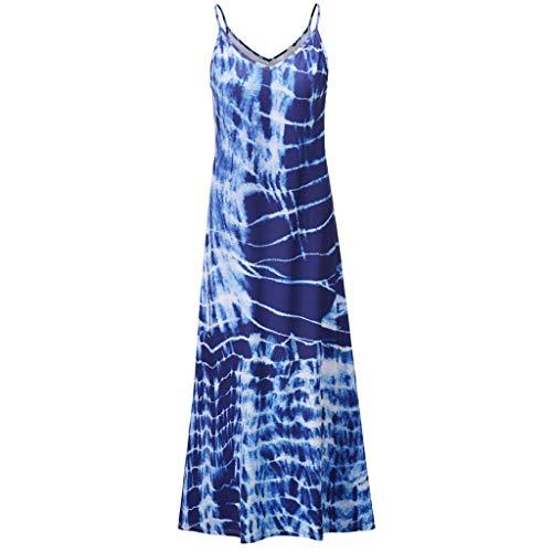 Yolmook Femme Longue Robe Casual Trapèze Imprimée Floral Bandage Robe d'été Boho Bretelles Sexy Robe de Plage Robe de Soirée Crayon Tunique Jupon(Medium,Bleu)