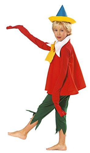 joker H670-001 - Pinocchio Costume di Carnevale in Busta, Rosso e Verde