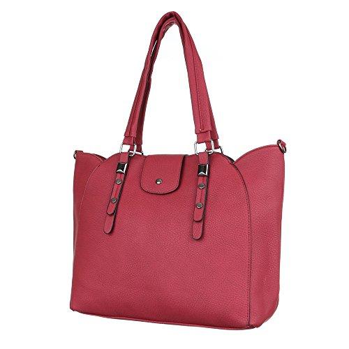 Damen Tasche, Schultertasche, Mittelgroße Handtasche, Kunstleder, TA-C510 Rot