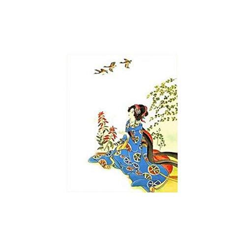 Malen nach Zahlen DIY japanische kostüm Kimono schönheit leinwand handgefertigte Japan wandkunst Bild für wohnkultur Erwachsene 40x50 cm kein Rahmen (Katze Diy Kostüm Erwachsene Für)