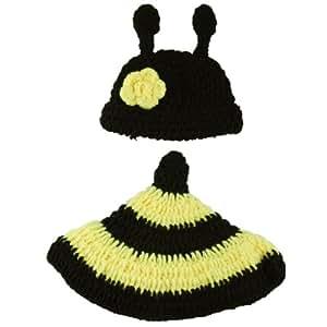Y-BOA - Déguisement Bébé Costume - Animaux - Bonnet Crochet- 3~6 Mois garçon/fille- Photographie (Abeille Jaune)