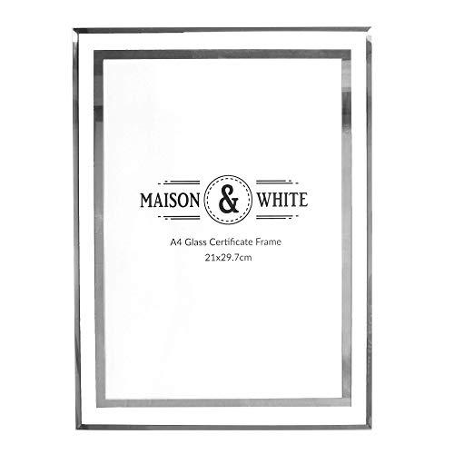 A4 Photo Certificate Frame | Bilderrahmen aus Glas | Verspiegelter silberner Abschlussrahmen | Freistehender oder an der Wand befestigter Dokumentenhalter | M&W