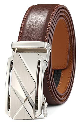 Herren Design Leder (GFG Herren Gürtel,Leder Automatik Gürtel Für Herren Jeans Anzug Gürtel-3,5cm Breite-005-125-Braun)