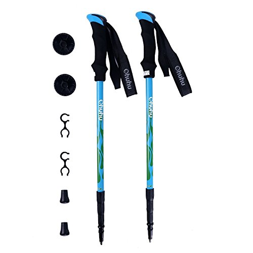 Ohuhu 2-Pack Antichoque Bastones Trekking Polacos/Senderismo Polacos/Bastones de Marcha/Senderismo Stick, 22'a 56' Extensible, 1 Par