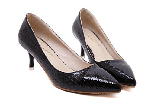 GS~LY Damen Stiletto Schuhe Asakuchi Spitzen Schlangenleder Pumps Black