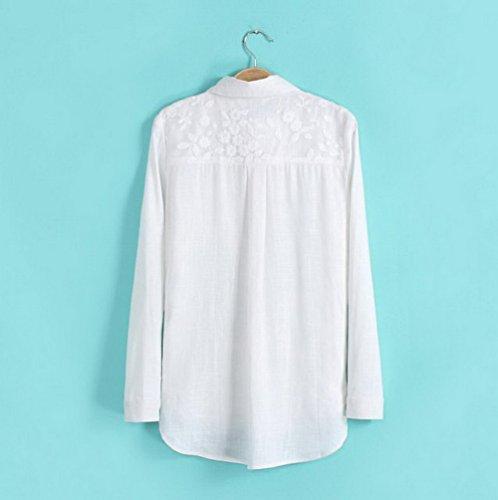 Bigood Chemise Femme Coton Chanvre Chemisier Haut Veste Blanc Manche Longue Fleur Imprimée Blanc
