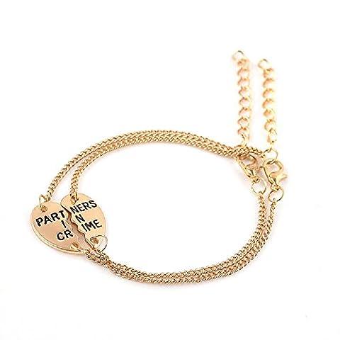 DRT–1set de deux bracelets avec cœur divisé