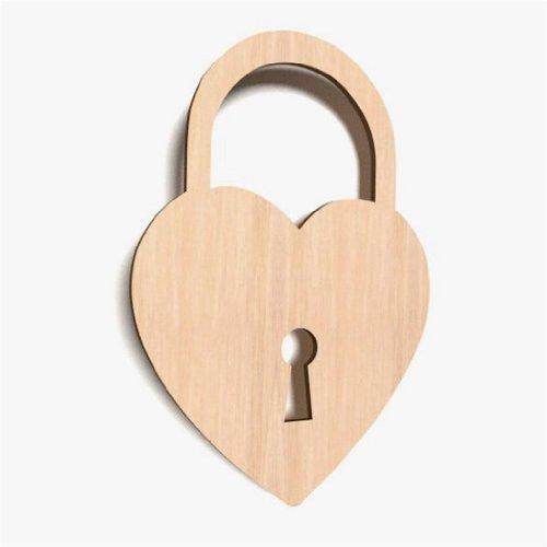 Lot de 10 cœurs en bois en forme de cœur orné de décoration Blanc uni WX15 cadenas