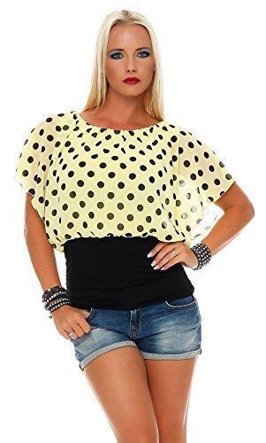 Damen doppellagige Chiffon Bluse Rundhals Fledermaus Tunika Top mit Punkten One Size Gelb