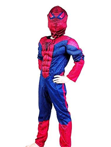 Lovelegis Taglia S - 3-5 Anni - Costume da Supereroe - Busto Muscoloso - Spiderman Uomo Ragno per Bambini Travestimento Carnevale Halloween Cosplay Accessori