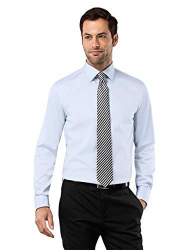 Vincenzo boretti camicia uomo eleganti, taglio normale/regular-fit, polsini a doppio uso, in tinta unita - non-stiro azzurro 41/42