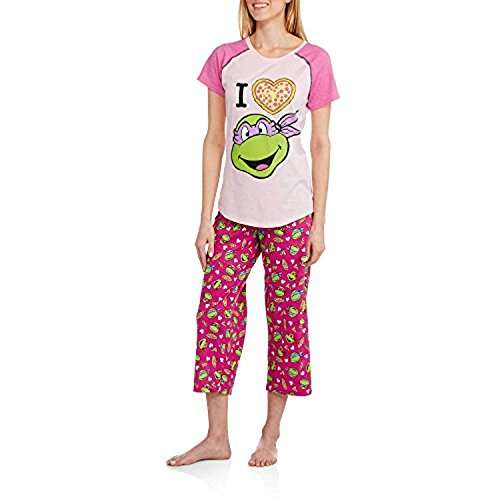 Womens Teenage Mutant Ninja Turtles Rosa Capri L?nge Pyjamas Gr??e 3X (22W-24W) (Capri Turtle)