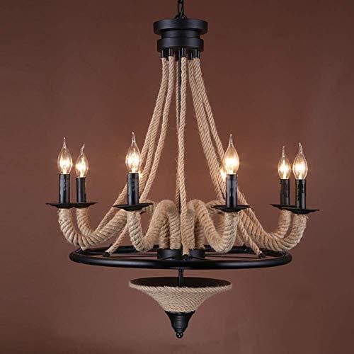 BAIF Industrielle Seil Kronleuchter, Insel Beleuchtung Fixure Anhänger 8 Lichter für Wohnzimmer Restaurant Cafe Clothing Store-a -
