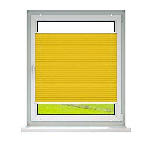 VICTORIA M Plissee Klemmfix ohne Bohren – EasyFix Größe: 100 x 150 cm, Farbe: gelb - 2