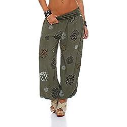 ZARMEXX Pantalones de mujer, bombachos, estilo oriental, de verano, con estampado, para el tiempo libre, talla única Armee Einheitsgröße