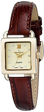 Peugeot Women's 14K Gold Plated Small Square Skinny Brown Glossy Leather Dress Watch 3034BR