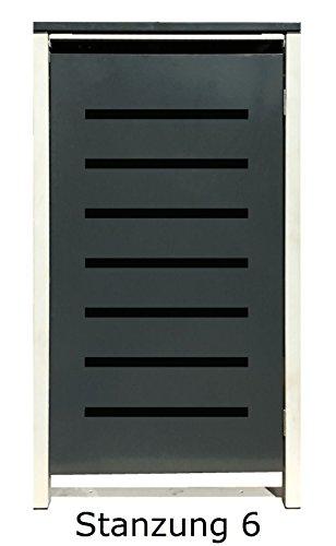 BBT@ | Hochwertige Mülltonnenbox für 2 Tonnen je 120 Liter mit Klappdeckel in Grau / Aus stabilem pulver-beschichtetem Metall / Stanzung 6 / In verschiedenen Farben sowie mit unterschiedlichen Blech-Stanzungen erhältlich / Mülltonnenverkleidung Müllboxen Müllcontainer - 6