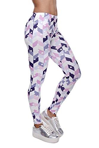 Bunte Damen Leggings Hose Einheitsgröße S-L   Mädchen Leggins bedruckt in verschiedenen Muster   Yoga Pants High Waist auch als Sporthose...