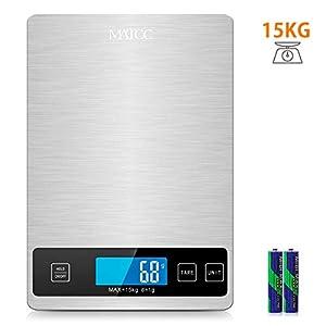 MATCC Küchenwaage Digital Digitalwaage bis 15 kg Haushaltswaage Digitale küchenwage mit Tara und Hold-Funktion Professionelle Waage LCD-Display Genau 1 g / 0.1 lb Perfekt für die Küche
