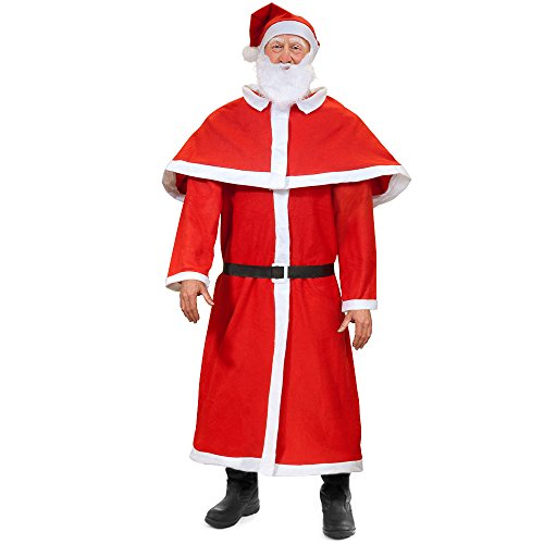 Weihnachtsmann Anzug Set ✔ 5-teilig ✔ Eingheitsgröße - Weihnachtsmannkostüm Santa Claus Nikolaus Cosplay Verkleidung