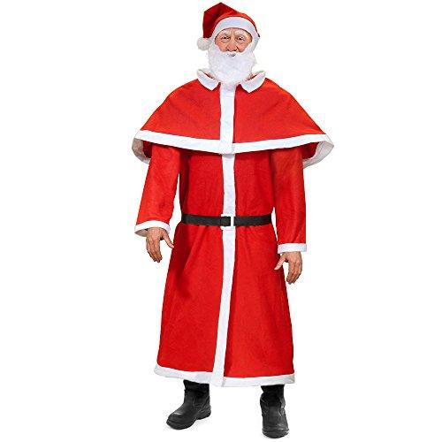 Deuba Weihnachtsmann Kostüm | 5tlg. Set Nikolaus Anzug | Santa Claus Cosplay Verkleidung | Einheitsgröße M L XL XXL - Santa Claus Anzug Kostüm