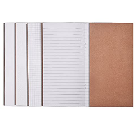 5 Pieces Traveler's Notebook Inserts Travel Journal Refill Set, 64 Pages Per Insert, 4 Styles