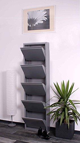 lifestyle4living Schuhkipper grau aus Metall hat 5 synchron öffnende Klappen, schmaler Schuhschrank ist 15 cm tief und bietet Platz für bis zu 15 Schuhe