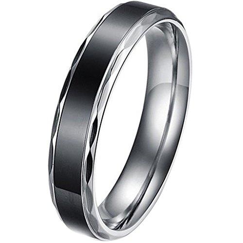 Aooaz Schmuck Unisex Ring,Klassische Edelstahl Ehering Verlobungsringe Schwarz