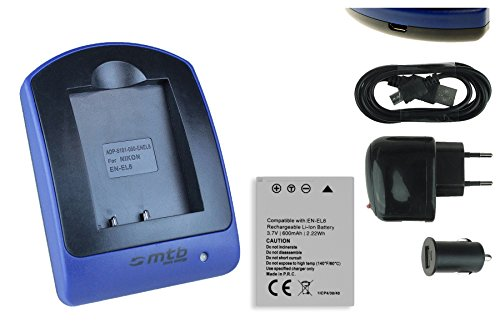 Akku + Ladegerät (Netz+Kfz+USB) EN-EL8 für Nikon Coolpix P1 P2 S1 S2 S7 S8 S9 S50c S51..s. Liste (En-el8)